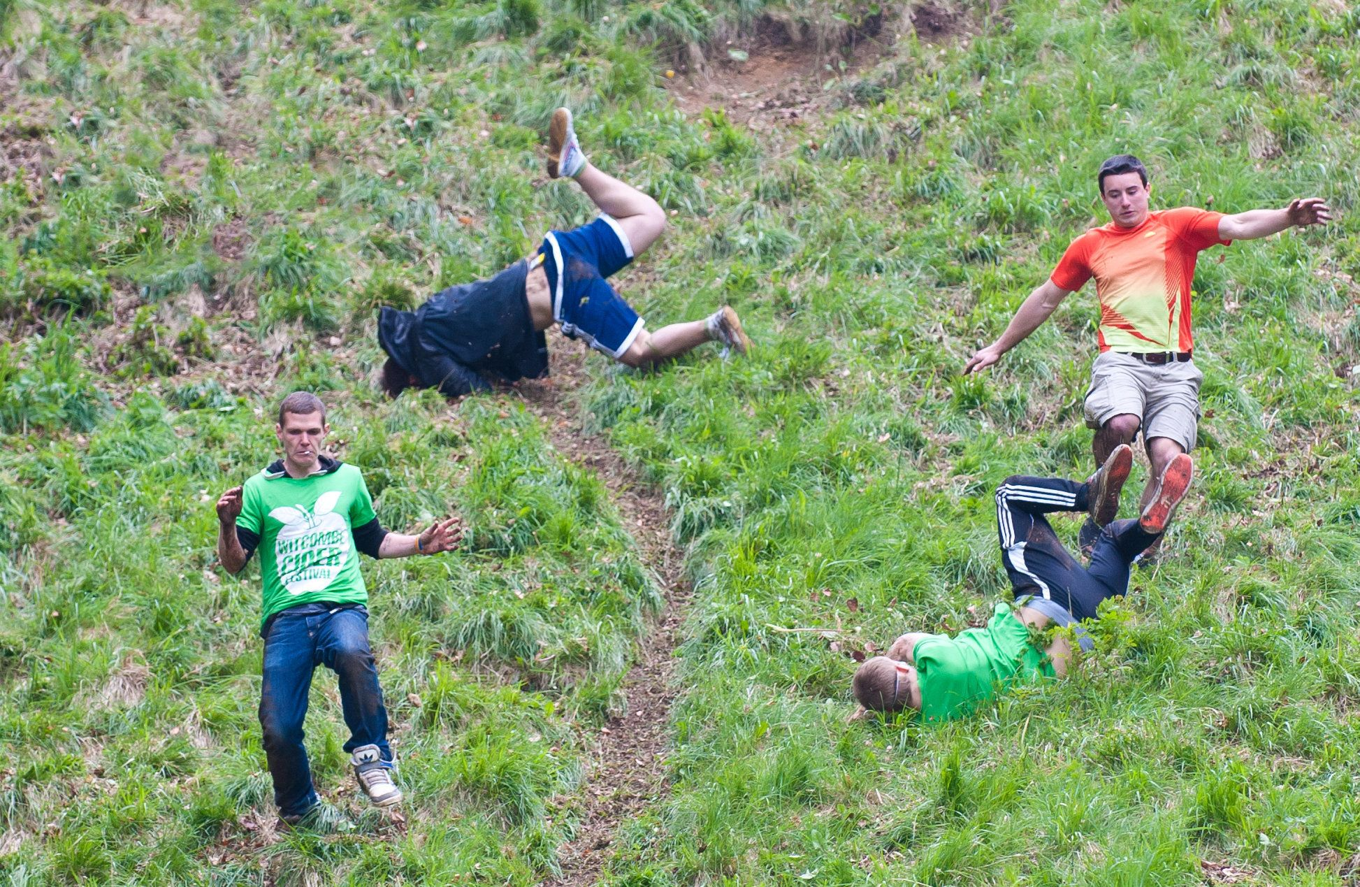The annual Cheese Rolling Race at Coopers Hill in the village of Brockworth, involves rolling a 9 lb. round of Double Glouces