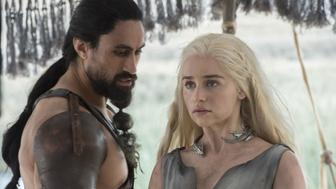 When Daenerys Targaryen (Emilia Clarke) and Khal Moro (Joseph Naufahu) are not engaged in a power struggle, they like to dance to Tupac.
