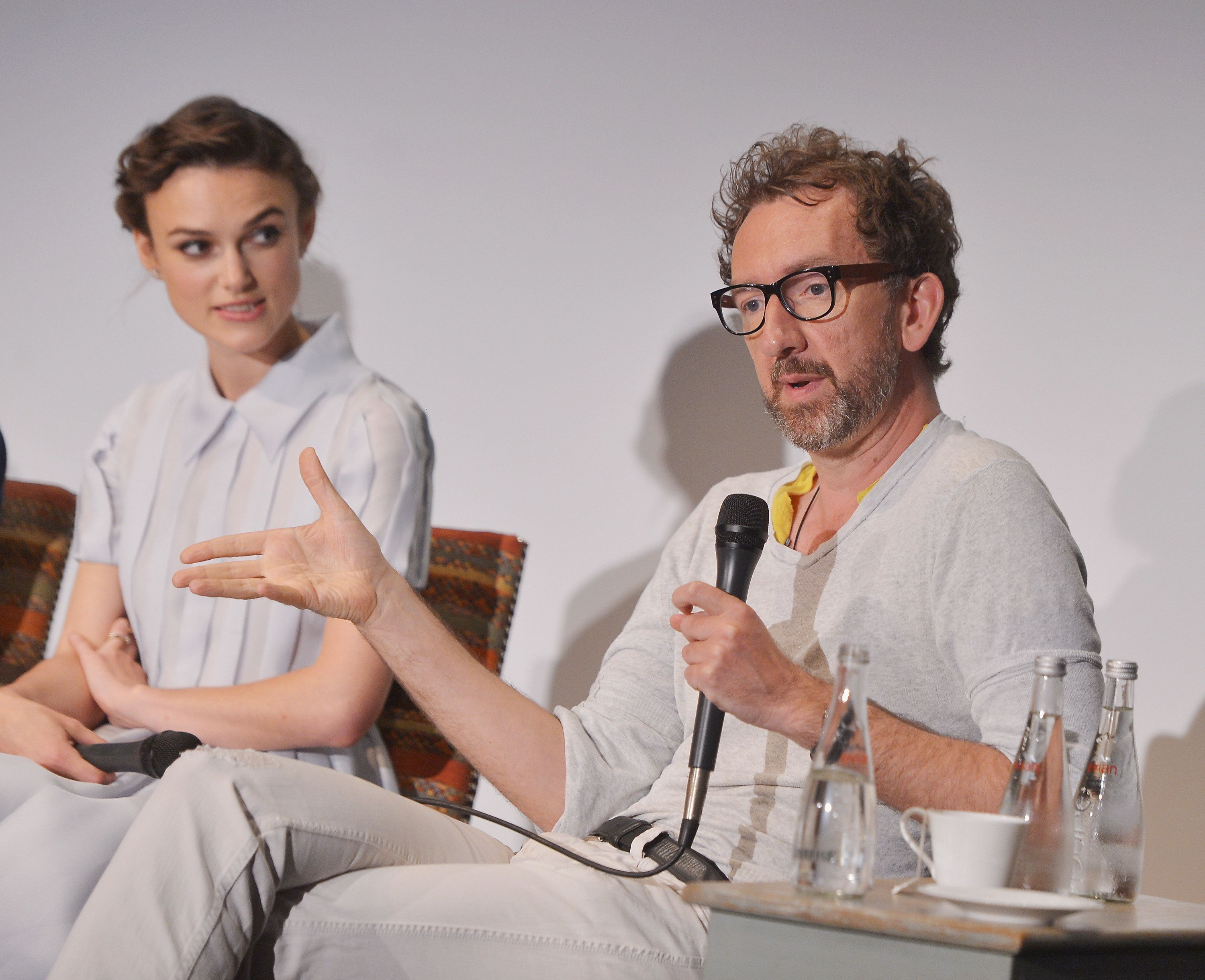 NEW YORK, NY - JUNE 24:  Actress Keira Knightley and writer/director John Carney attend the 'Begin Again' press conference at Crosby Street Hotel on June 26, 2014 in New York City.  (Photo by Stephen Lovekin/Getty Images for HBO)