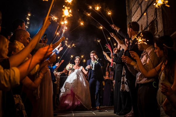"""Liz and Noah's wedding was jam-packed with so many beautiful and emotional moments, but their sparkler send off was my absol"