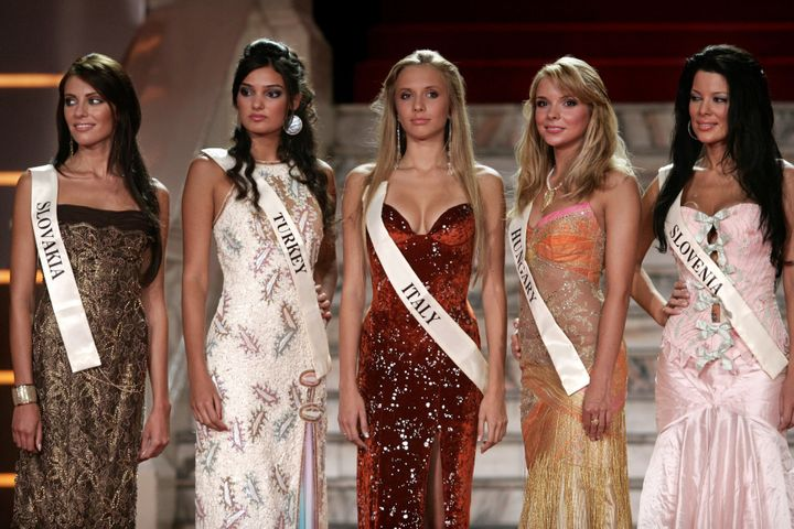 Miss Turkey 2006, Merve Buyuksarac, pictured second from the left, was sentenced to 14 months in jail for insulting President