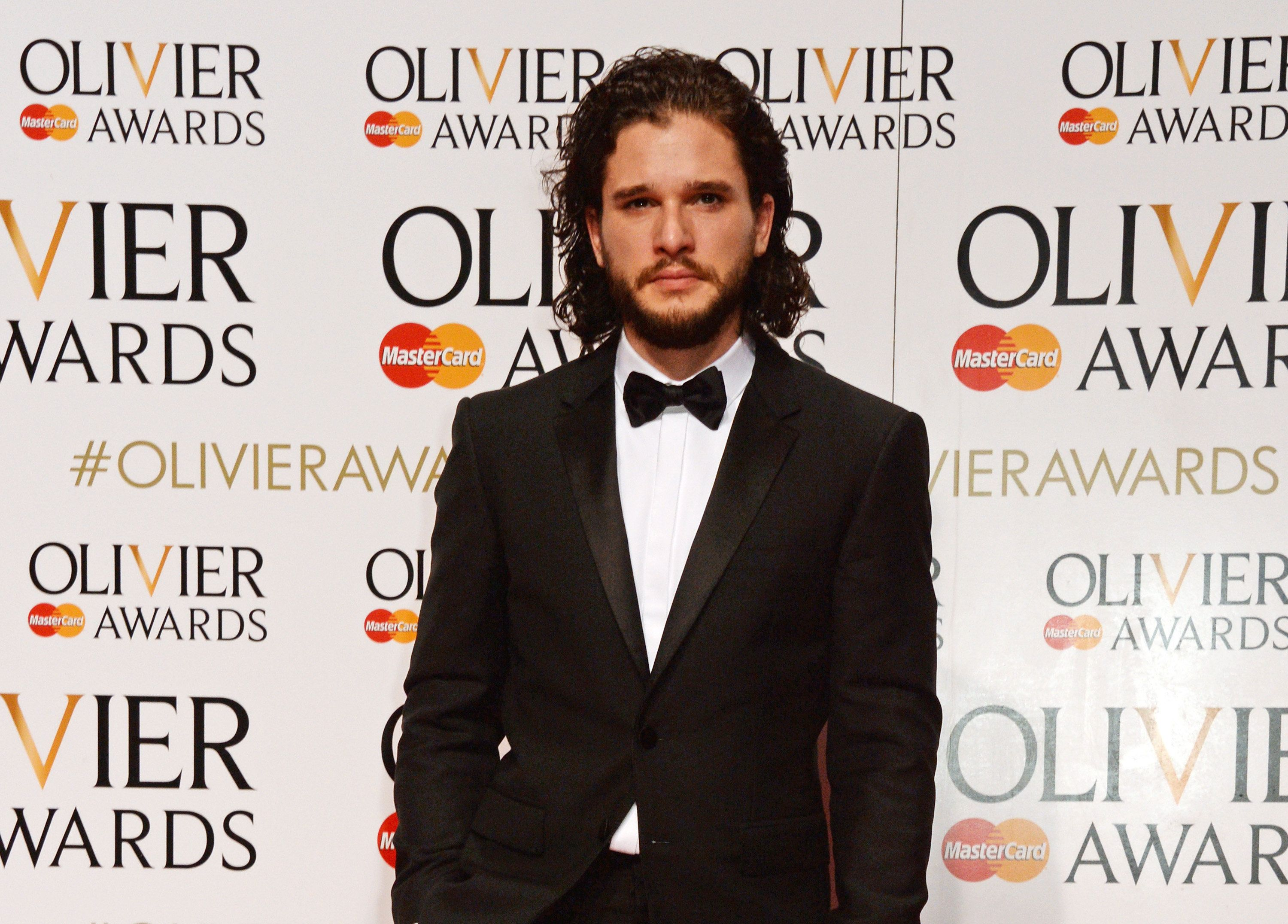 Kit Harington poses in the Winners Room at The Olivier Awards at The Royal Opera House on April 3, 2016,...