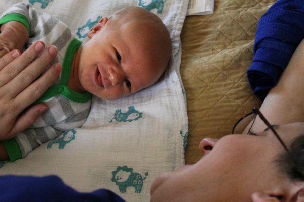 Just a week old and already had his mommy totally charmed.