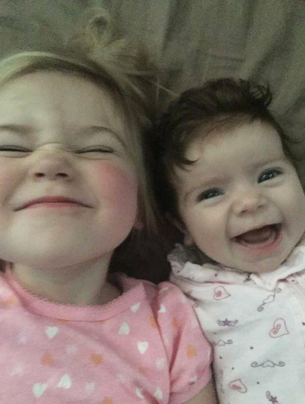 Baby Kate and her sister Charlotte.