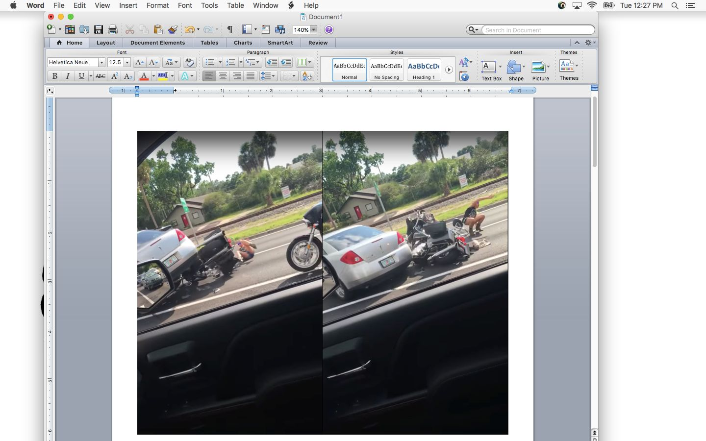 Video uploaded to YouTube shows the cardriving over a motorcycle and then peeling away from the scene.