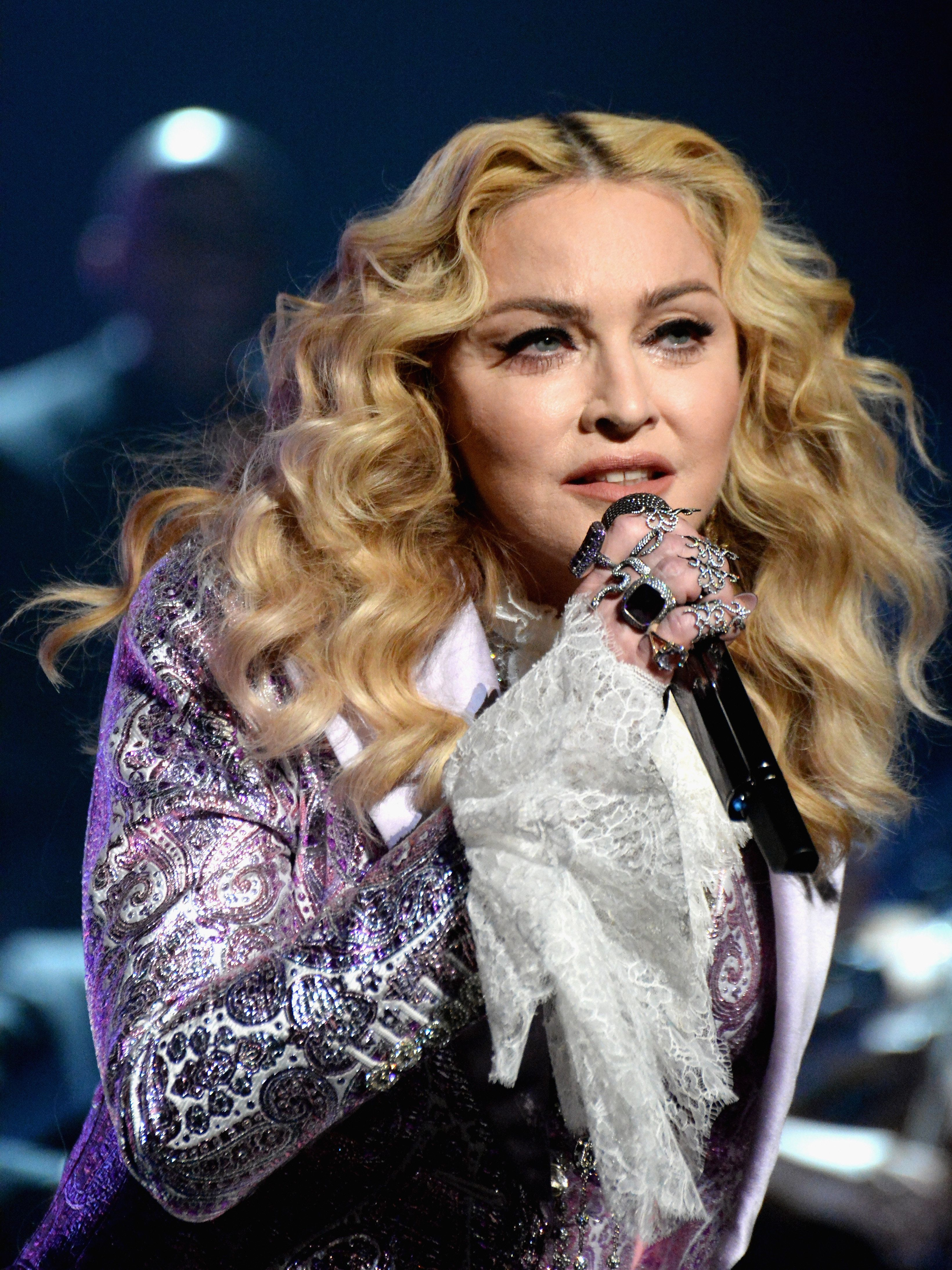 LAS VEGAS, NV - MAY 22:  Recording artist Madonna performs a tribute to Prince onstage during the 2016 Billboard Music Awards at T-Mobile Arena on May 22, 2016 in Las Vegas, Nevada.  (Photo by Jeff Kravitz/BBMA2016/FilmMagic)