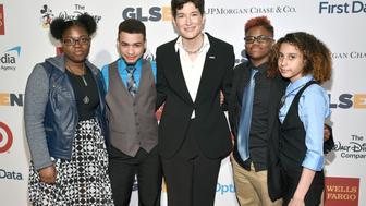 NEW YORK, NY - MAY 23:  GLSEN Executive Director Eliza Byard (C) and GSA students arrive at the GLSEN Respect Awards at Cipriani 42nd Street on May 23, 2016 in New York City.  (Photo by Bryan Bedder/Getty Images for GLSEN Respect Awards)