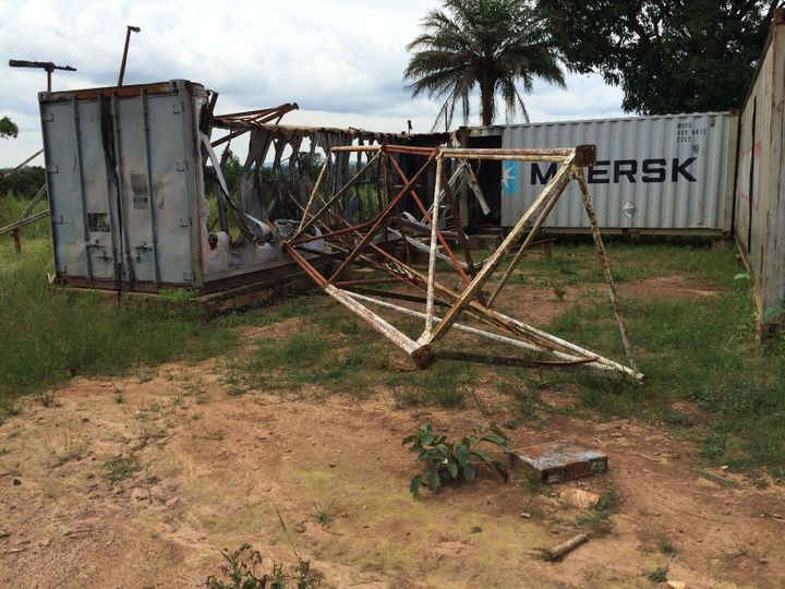 The remains of Bambari's last functioning radio stationRadio Be Oko after it was destroyed in 2014.