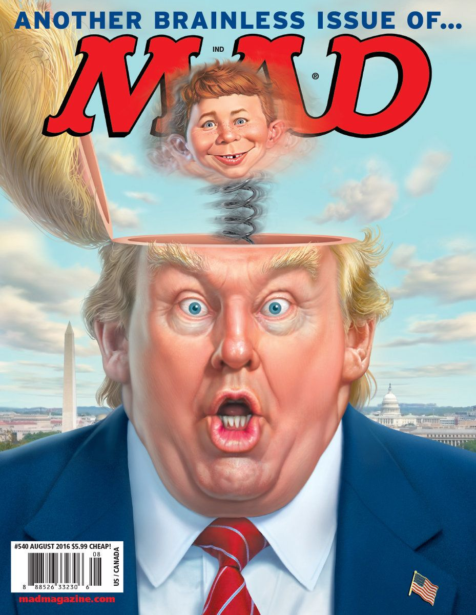 """""""Trump in the Box"""" by Mark Fredrickson for MAD Magazine, August 2016"""