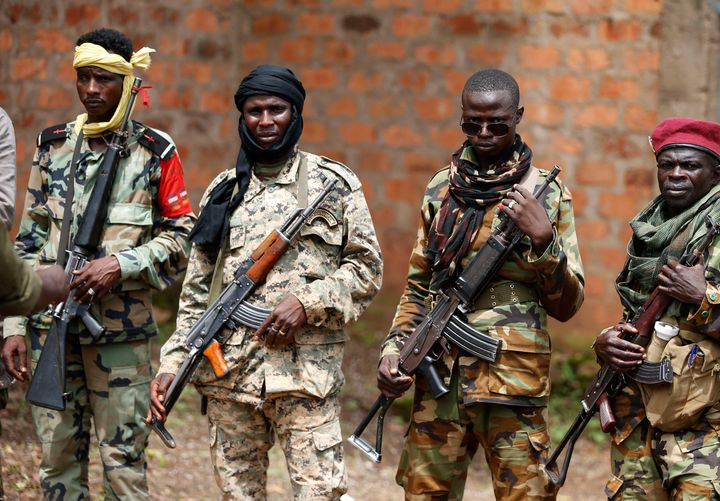 Seleka fighters stand in line at a Seleka base in Bambari in May2014. Although the mainly Muslim militia were officiall