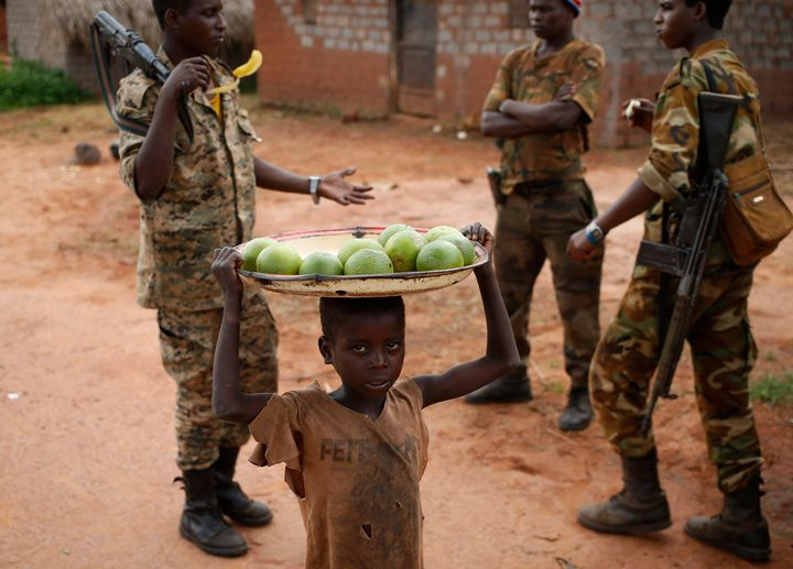 Bambari lies on the front line of the conflict that erupted in the Central African Republicover three years ago. Above,