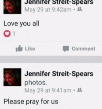 The text from the posts Texas police say Kenneth Alan Amyx made to Jennifer Streit-Spears' Facebook page.
