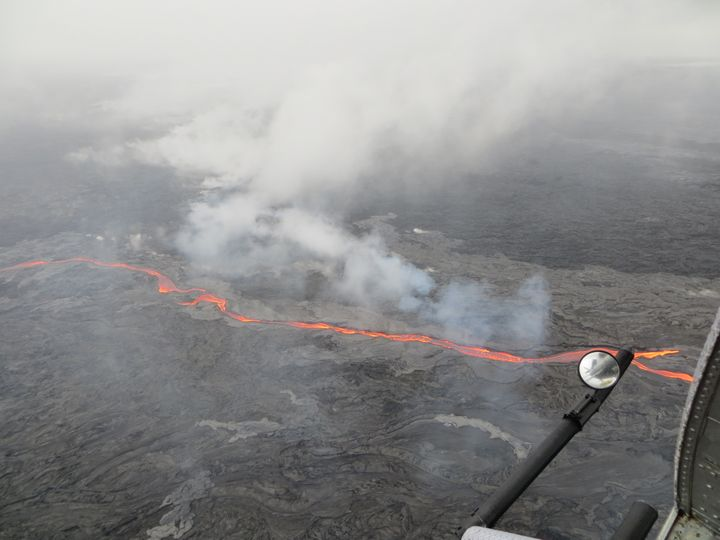 This May 25 USGS photo shows the northern breakout feeding an impressive channel of lava that extended about 0.6 mi