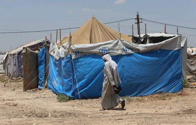 A displaced Iraqi man who fled fighting between government forces and the Islamic State (IS) group in...