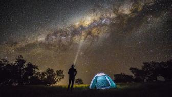 Camping under the stars in the Australian outback.