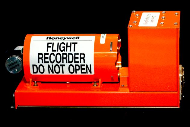 A commercial aircraft cockpit data recorder, or 'black