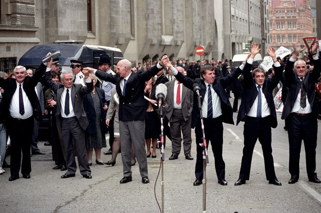 The Birmingham Six outside the Old Bailey in London after their conviction was