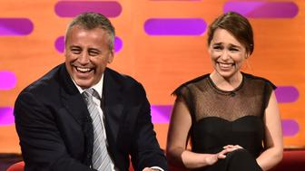 (left to right) Matt LeBlanc, Emilia Clarke, Kate Beckinsale and Dominic Cooper during the filming of the Graham Norton Show at the London Studios in London, to be aired on BBC1 on Friday Evening.