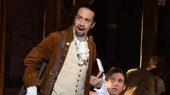 NEW YORK, NY - FEBRUARY 15:  Actor, composer Lin-Manuel Miranda is seen on stage during 'Hamilton' GRAMMY performance for The 58th GRAMMY Awards at Richard Rodgers Theater on February 15, 2016 in New York City.  (Photo by Theo Wargo/WireImage)