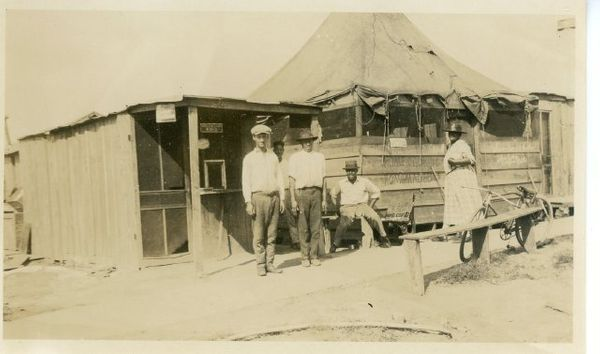 Temporary housing was constructed by the Red Cross after the Tulsa race riot. The houses were constructed of wooden planks an
