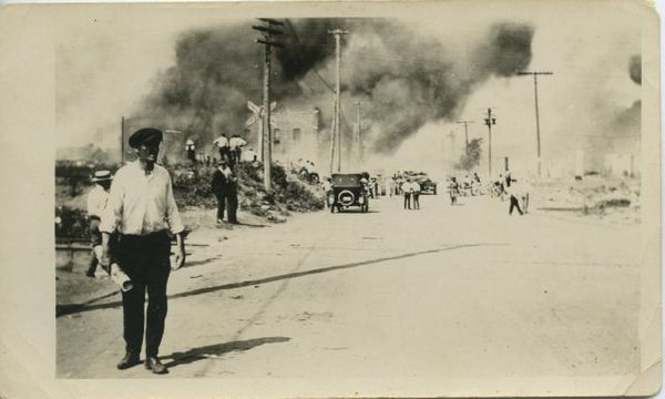 This photo shows the fire on Greenwood during the Tulsa race riot.