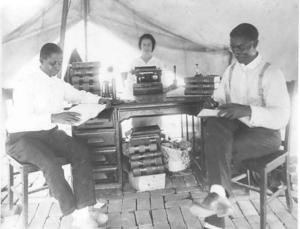 A temporary law office was set up in a tent following the Tulsa race riot. Pictured are: Spears, B.C. Franklin, and P.A. Chap