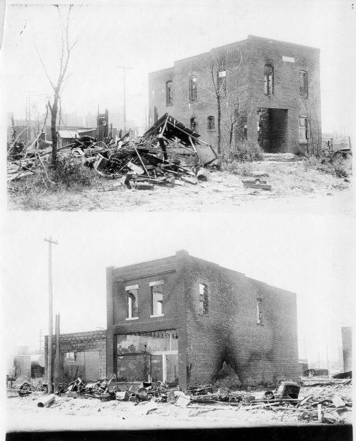 These two photos show the ruins of the Frank Wellborn Building on North Elgin and Brady following the Tulsa race riot.