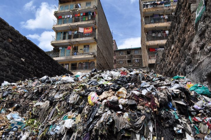 A huge pile of trash in Nairobi's Mathare slum. One function of the crowdsourced map of the slum is to map sites like this so