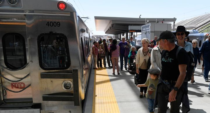 Passengersdisembark from a train at theDenver International Airport, April 22, 2016. A new study argues that ride
