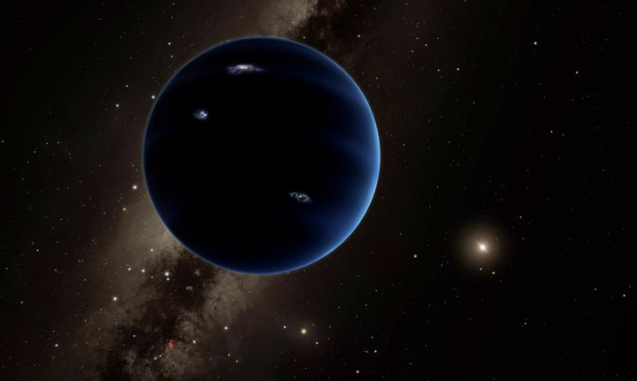 A rendering shows the view from Planet 9 toward the sun. A new theory tries to explain where this potential planet came from.