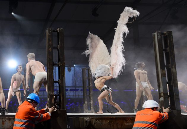 The performance included everything from this eagleman to what appeared to be dancing bales of