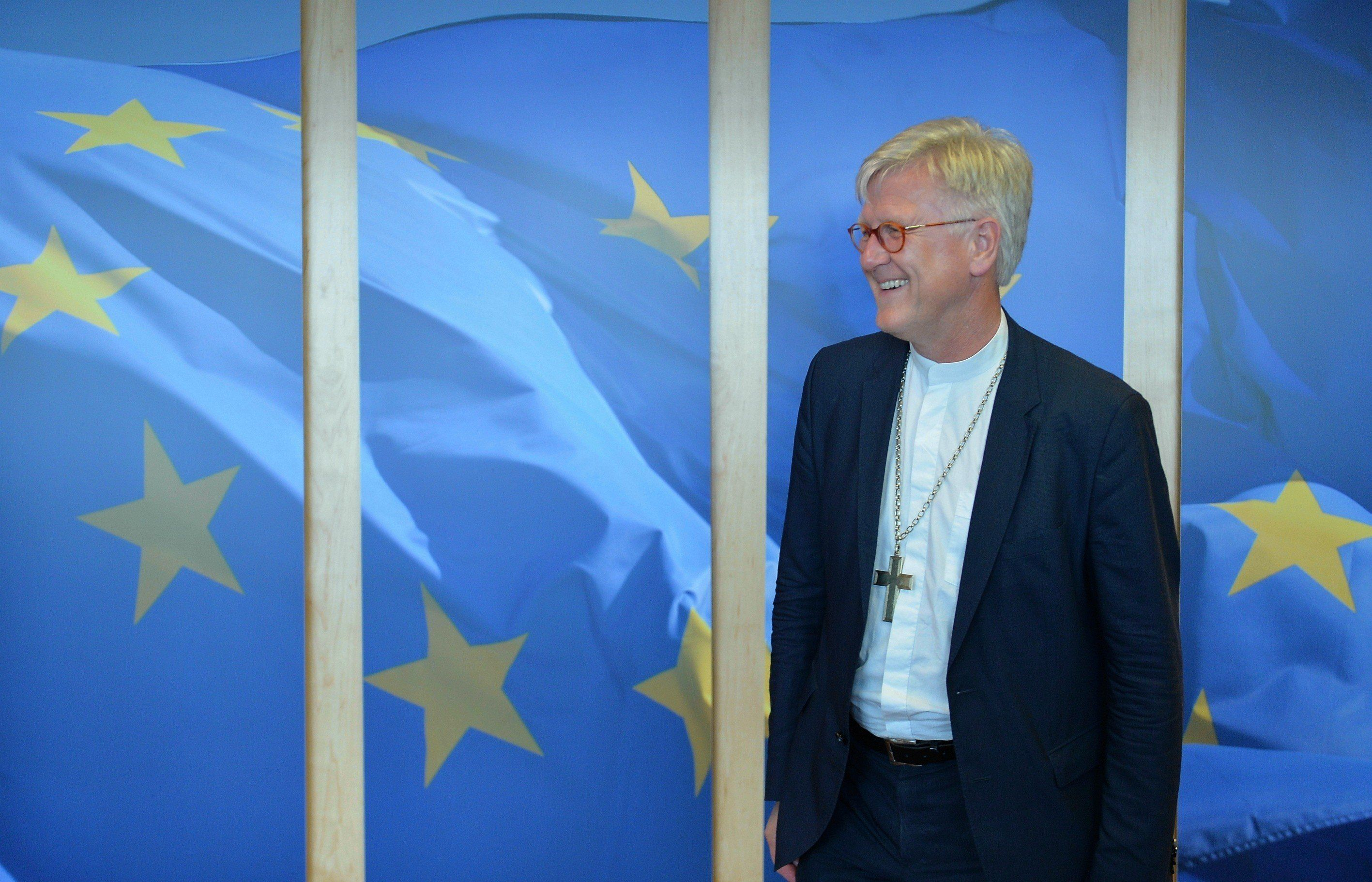 BRUSSELS, BELGIUM - SEPTEMBER 15:  Bishop Heinrich Bedford-Strohm, Chair of the Council of the Evangelical Church in Germany (EKD), is seen prior to a meeting at EU commission headquarters in Brussels, Belgium on September 15, 2015. (Photo by Dursun Aydemir/Anadolu Agency/Getty Images)