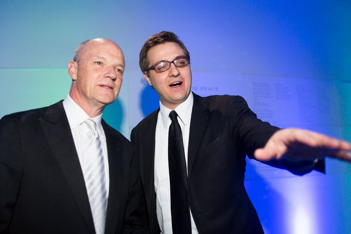 MSNBC host Chris Hayes, pictured alongside network President Phil Griffin, has lately been pulling double duty in daytime and
