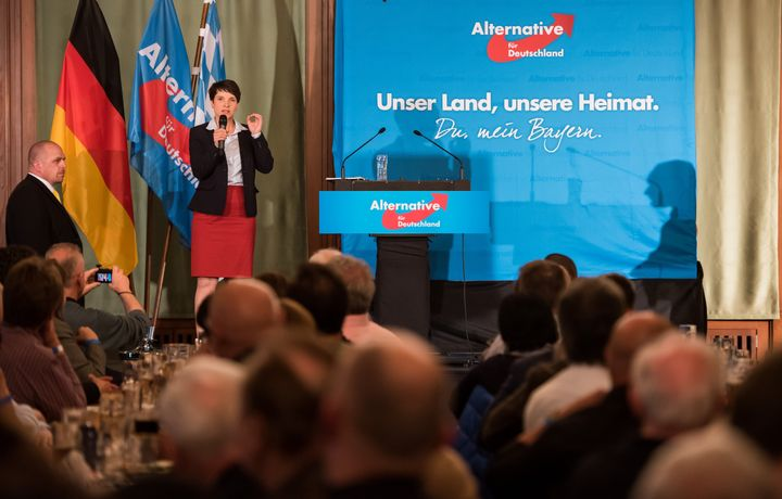 Frauke Petry, head of the right-leaning populist Alternative for Germany, AfD, political party, speaks during a gathering on