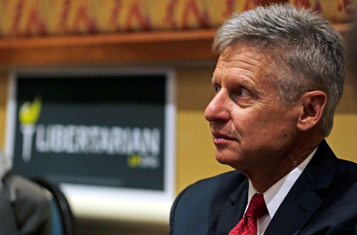 Libertarian Party presidential candidate Gary Johnson looks on during the party's National Convention held at the Rosen Cente