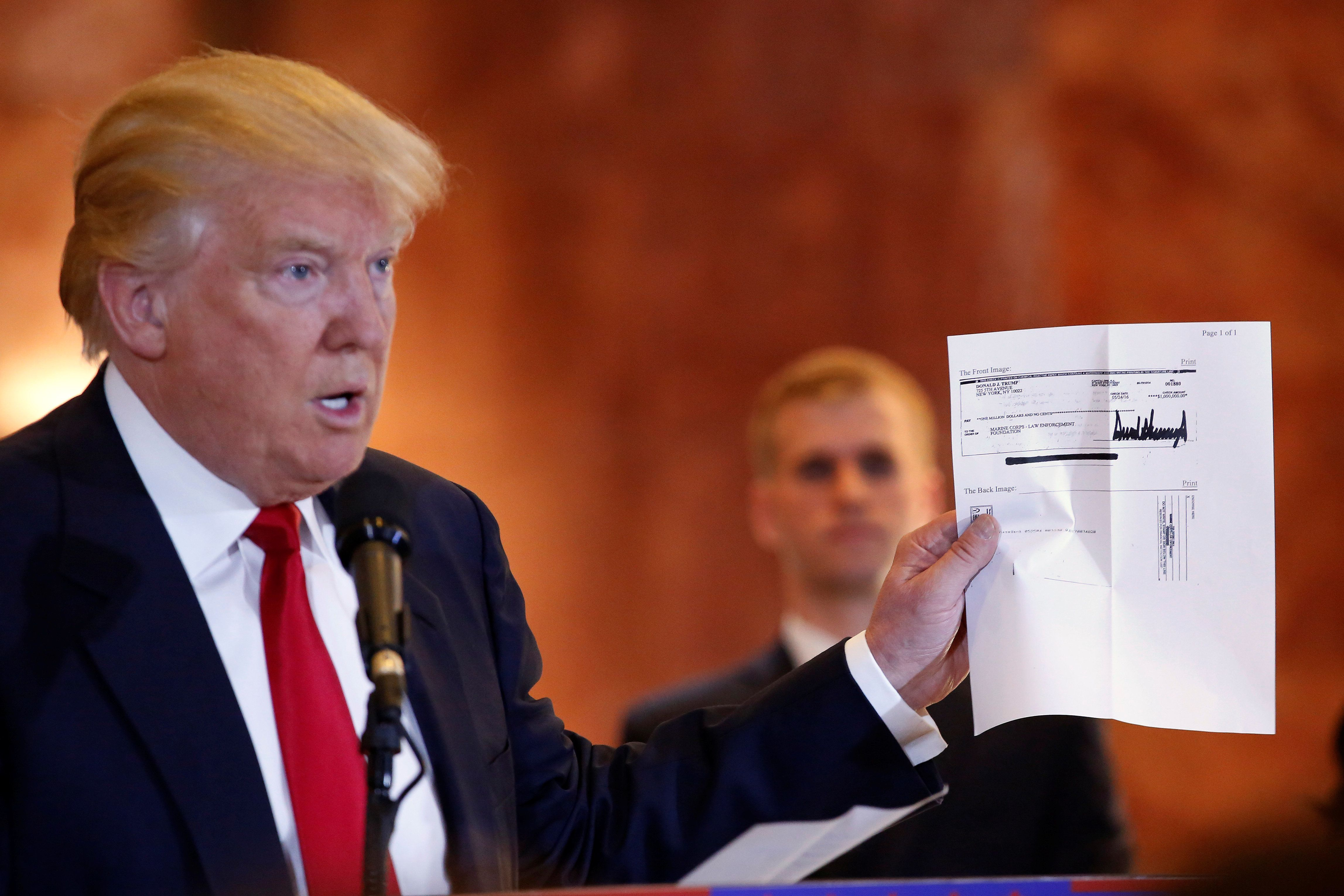 Donald Trump sayshe wants to help veterans, including with the checks he just sent to several charities.