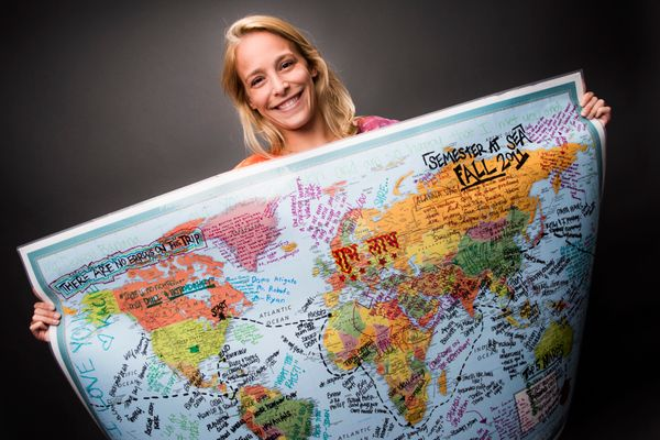 """This is a map of my voyage when I sailed around the world. It reminds me of my greatest memories and some of my be"