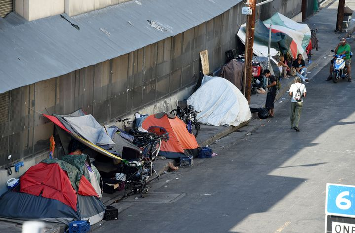 Tents are placed along Skid Row is seen in Los Angles on September 23, 2015. Los Angeles elected officials this week declared
