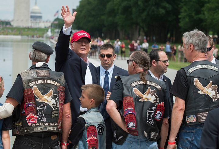Trump came to Washington to talk to vets during the annual Rolling Thunder parade ahead of Memorial Day.