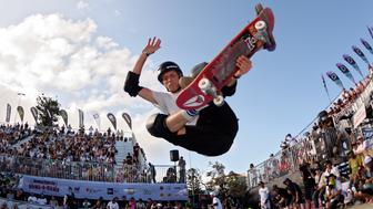 BONDI BEACH, SYDNEY, NSW, AUSTRALIA - 2016/02/21: Tony Hawk (USA) in action during the Bowl-A-Rama Bondi Beach annual skate competition at Bondi Skate Park in NSW, Australia. Tony Hawk successfully retained his title as Masters Champion. (Photo by Hugh Peterswald/Pacific Press/LightRocket via Getty Images)