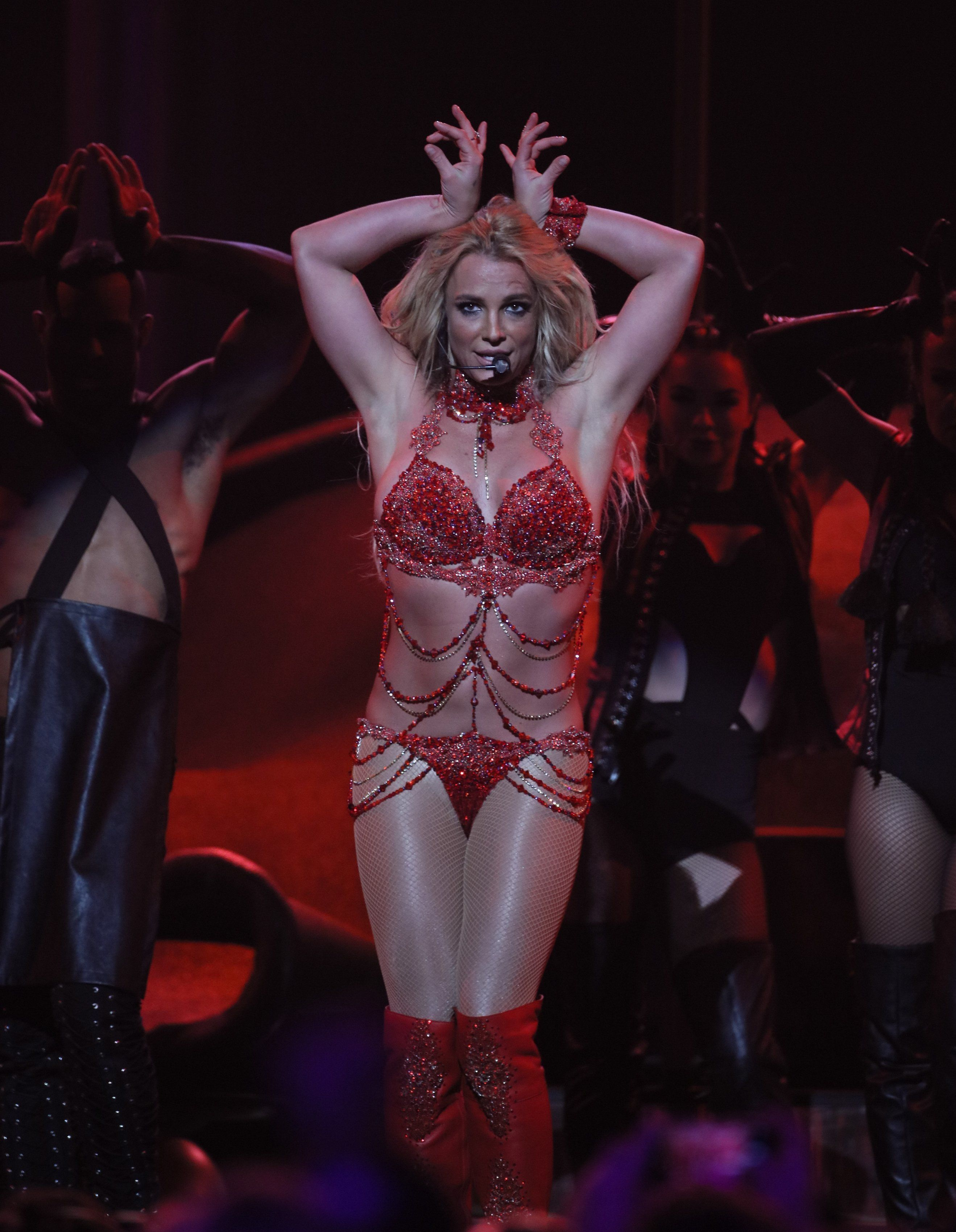 Britney giving it her all on stage in Las