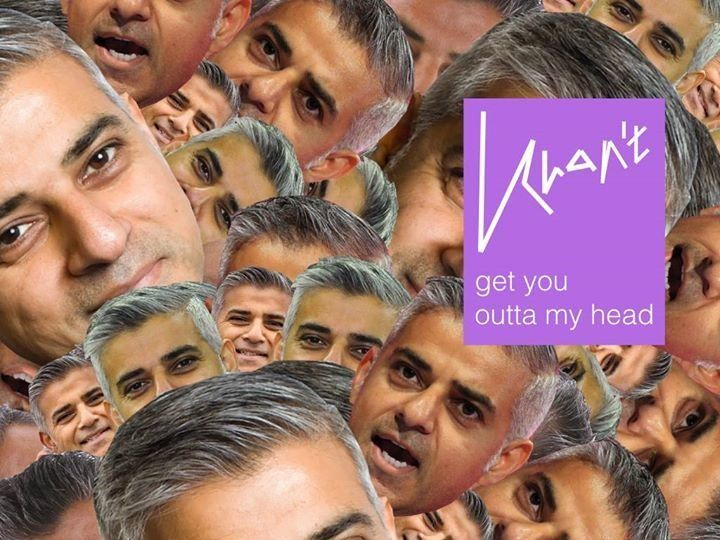 The advertisement for 'Khan't Get You Outta My Head' paying homage to