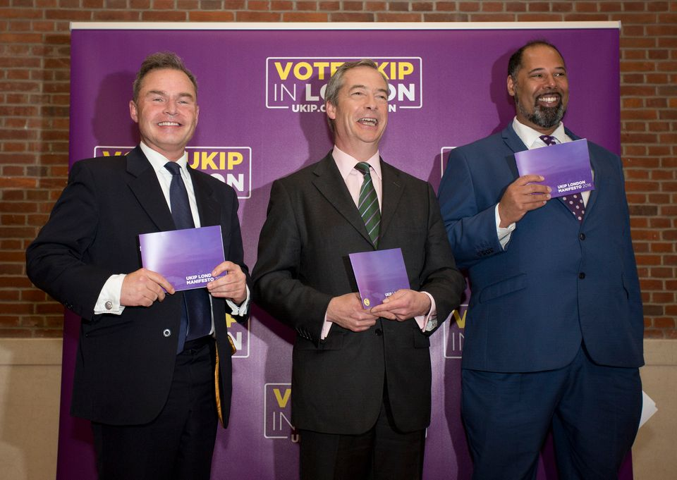 Ukip's two London Assembly Members Peter Whittle (left) and David Kurten (right) pose with leader Nigel