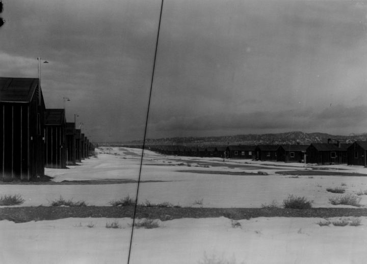 Heart Mountain in Wyoming was one of the siteswhere Japanese-Americans were incarcerated during World War II. Here it l