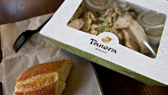 A Panera Bread Co. salad is arranged for a photograph in Tiskilwa, Illinois, U.S., on Thursday, Oct. 22, 2015. Panera Bread Co. is expected to report quarterly earnings on October 27. Photographer: Daniel Acker/Bloomberg via Getty Images
