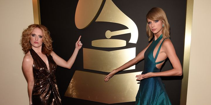Abigail Anderson and Taylor Swift attend The 57th Annual GRAMMY Awards at the STAPLES Center on February 8, 2015 in Los Angel