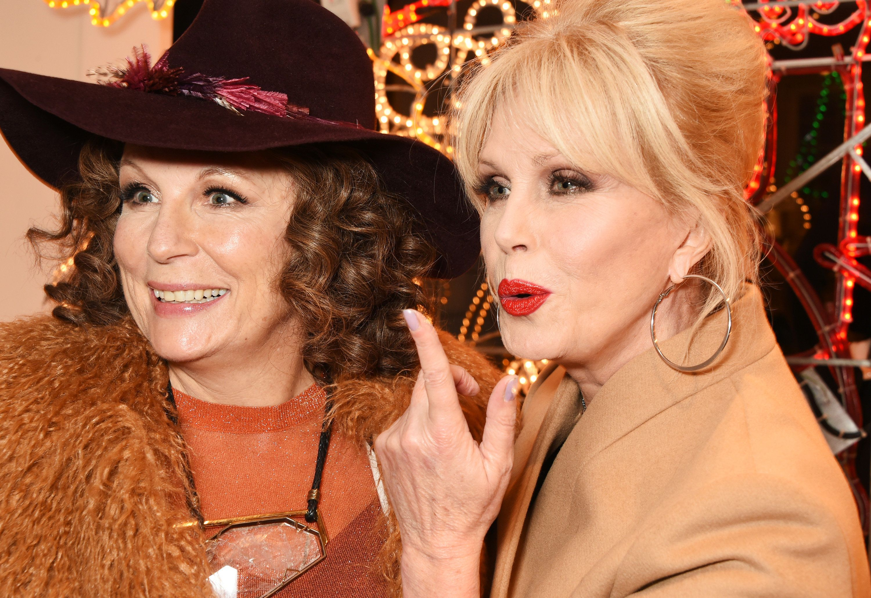 LONDON, ENGLAND - NOVEMBER 25:  Jennifer Saunders (L) and Joanna Lumley as Edina Monsoon and Patsy Stone attend the Stella McCartney Christmas Lights switch on at the Stella McCartney Bruton Street Store on November 25, 2015 in London, England.  (Photo by David M. Benett/Dave Benett/Getty Images for Stella McCartney)