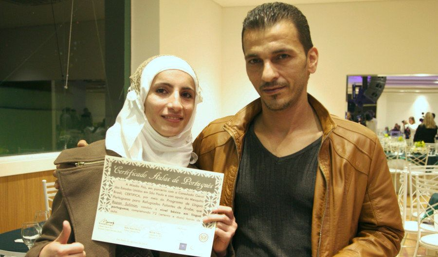Razan Suliman and her husband are both unemployed, but they get by on donations from people in Sao Paulo.