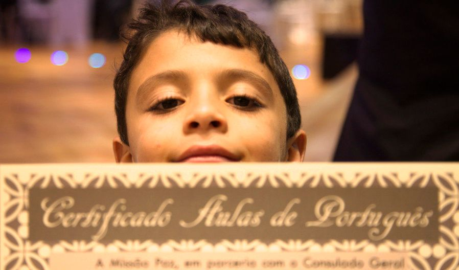 Six-year-old Ahmed Bakre was the youngest student in the Portuguese language class.