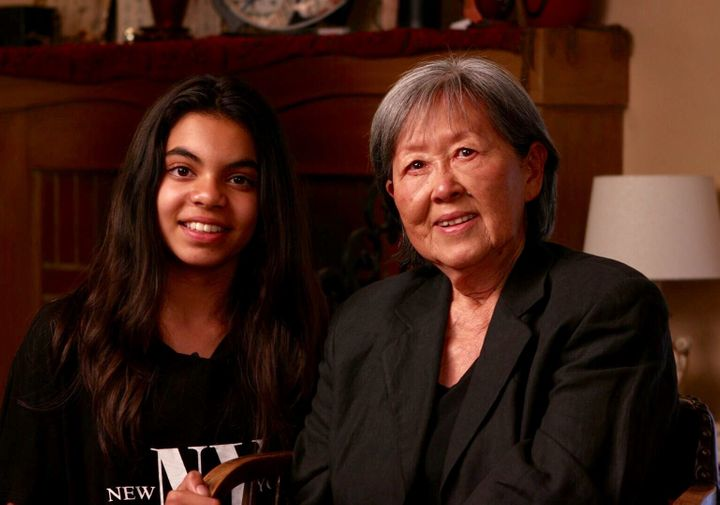 "Zara Ahsan, 12, and Takako ""Kit"" Nishiura, 80, during the filming of ""Letters From Camp."" Nishiura was incarcerated as a chil"